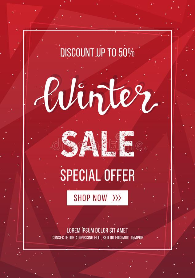 Winter Sale Banner, Poster, Flyer Template In Frame On Geometric ...