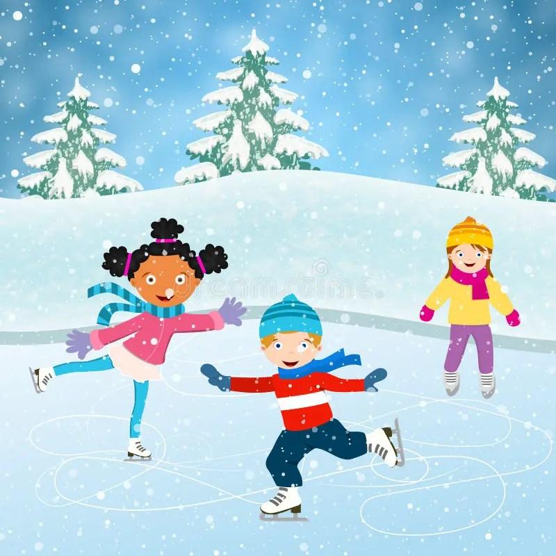 Winter Scene With Skating Children Stock Vector - Illustration of child. activity: 80245030