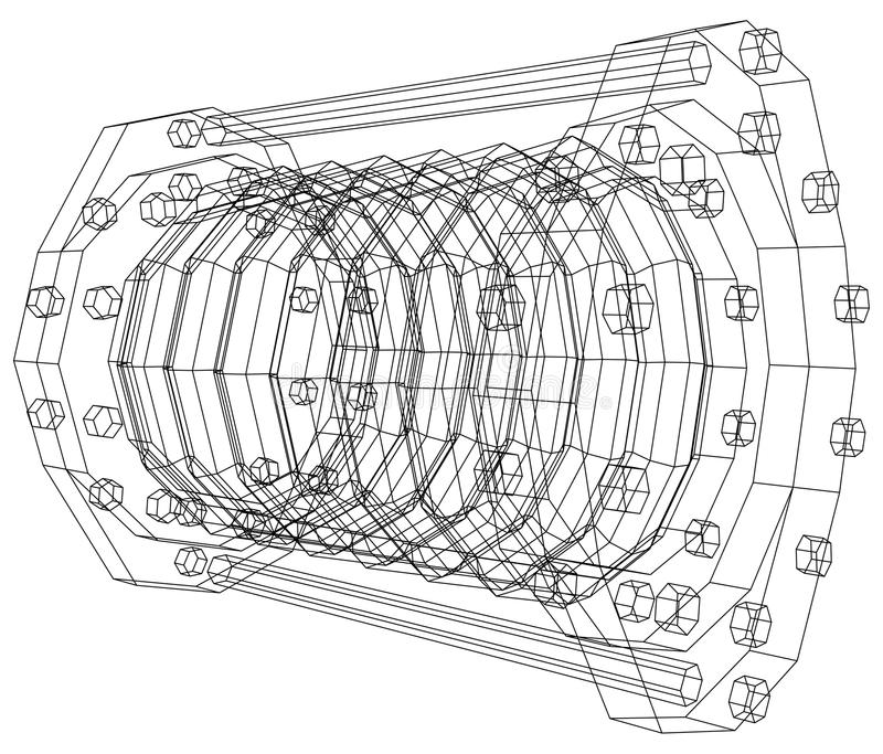 Wire-frame Industrial Equipment Oil Flowmeter Stock Vector