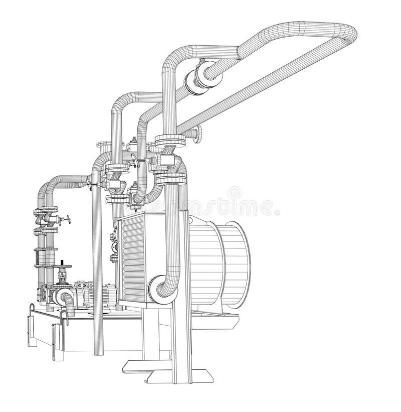 Wire-frame Industrial Equipment Of Oil Pump Stock Vector