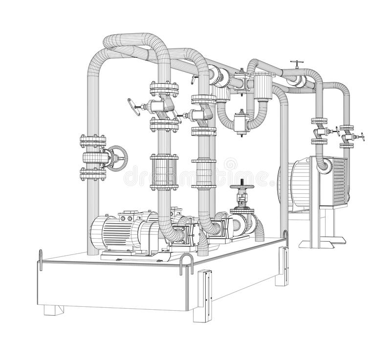 Wire-frame Industrial Equipment Of Oil Pump Stock