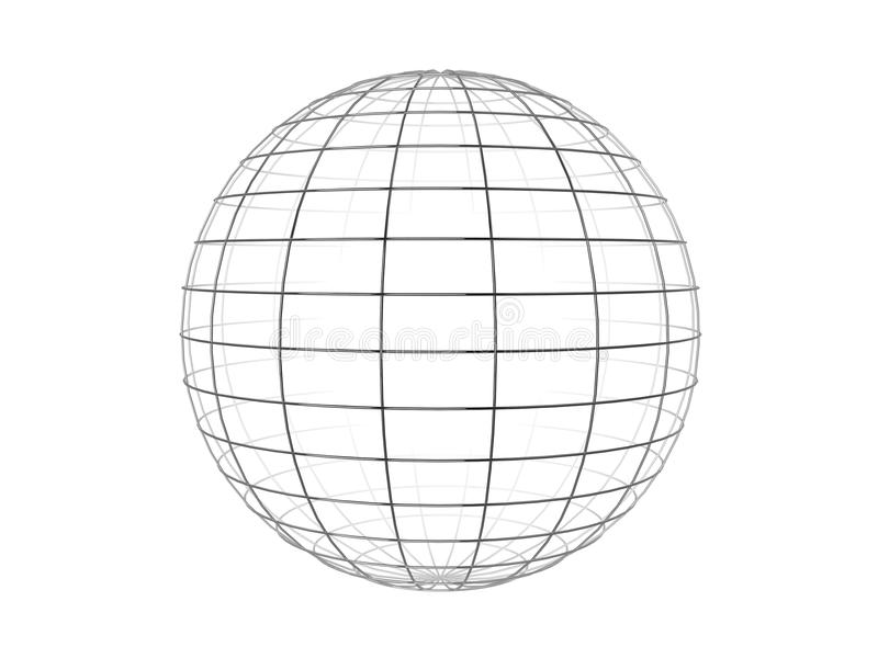 Wire frame sphere stock illustration. Image of lines