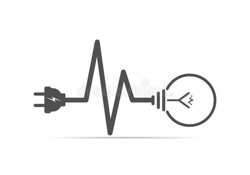 Wire Plug And Light Bulb Flat Icon. Vector Illustration