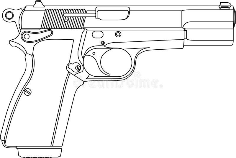 Wireframe gun pistol stock vector. Illustration of white