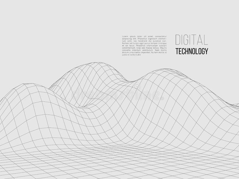 3D Wireframe Terrain Wide Angle EPS10 Vector Stock Vector
