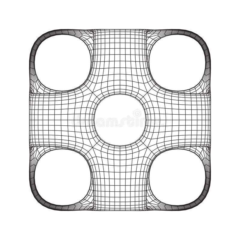 Wireframe Ported Cube stock vector. Illustration of