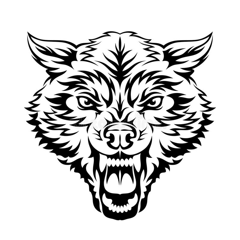 Black And White Wolf Stock Vector