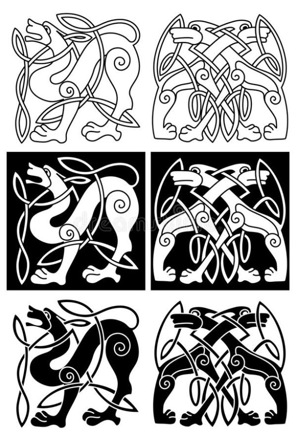 Wolves And Dogs In Celtic Ornament Stock Vector Image