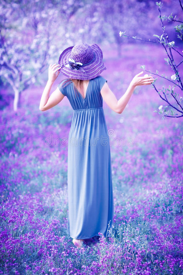 Beautiful Girl With Hat Wallpapers Woman In Fantasy Garden Stock Photo Image Of Branch