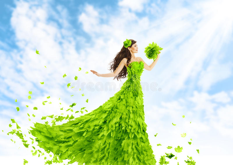 Woman Green Leaves Dress, Nature Fashion Beauty Girl In
