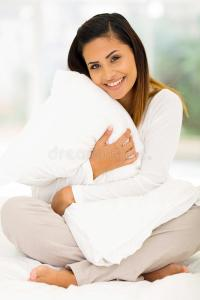 Woman hugging pillow stock photo. Image of cozy, model ...