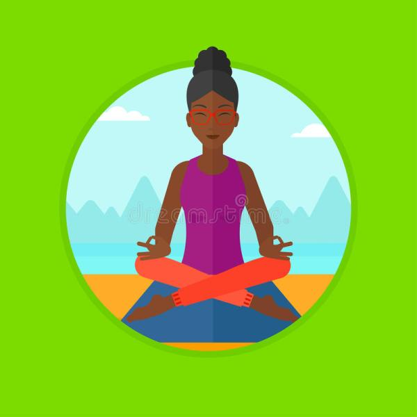 Woman Meditating In Lotus Pose Vector Illustration Stock
