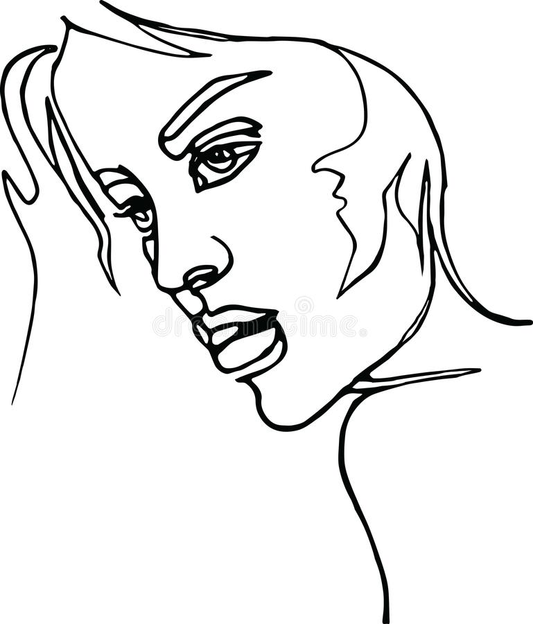 Woman Profile, Continuous Line Drawing Stock Vector