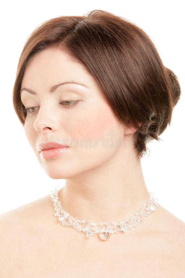 Woman Wearing Crystal Necklace Stock Image - Image of ...