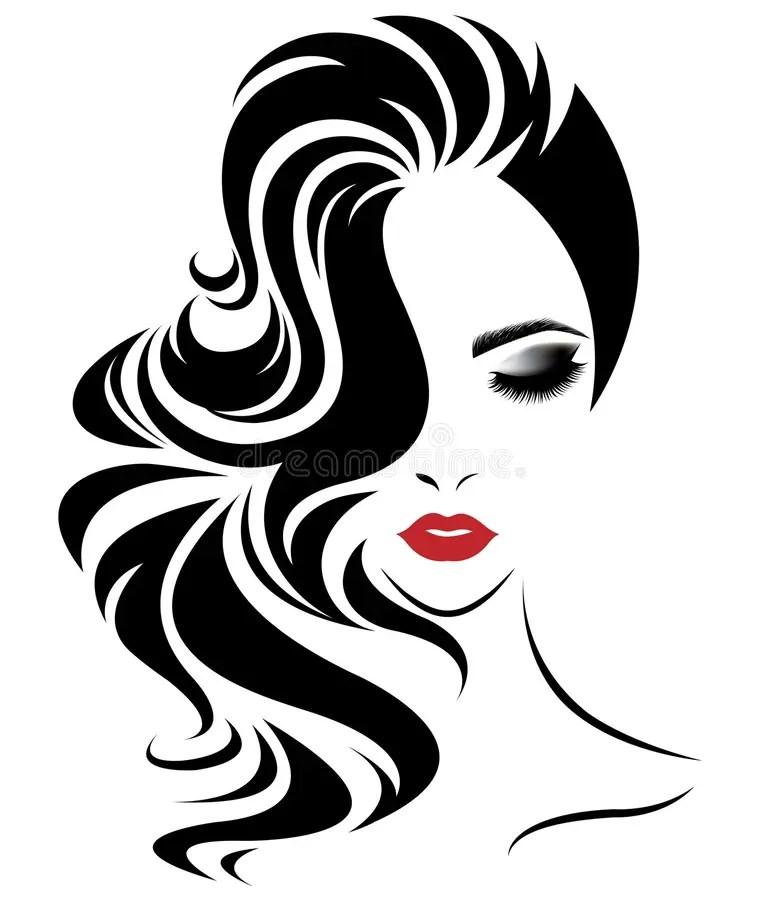 Women Long Hair Style Icon, Logo Women Face On White