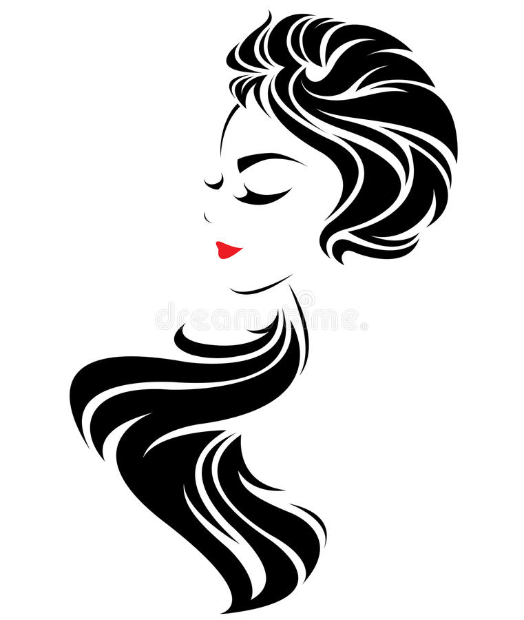 Women Long Hair Style Icon, Logo Women Face On White
