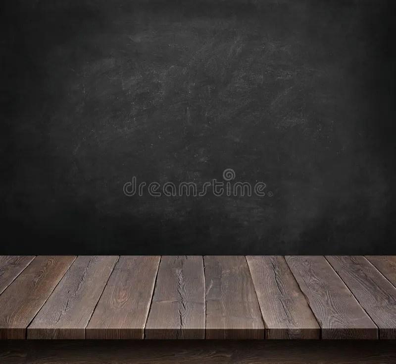 Wood Table With Blackboard Background Stock Photo  Image