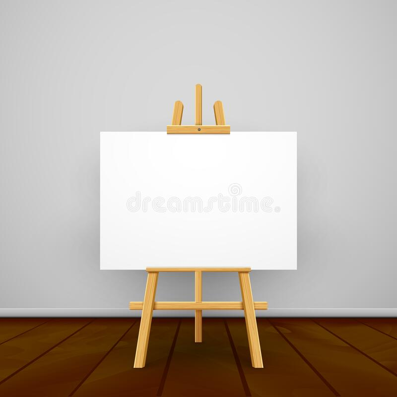 wooden easel canvas board isolated