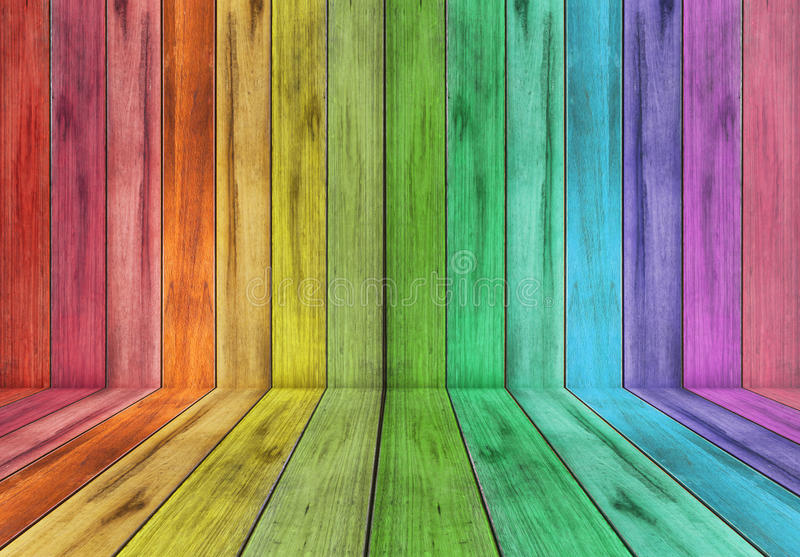 Wooden Plank With Rainbow Colour Background Stock Photo