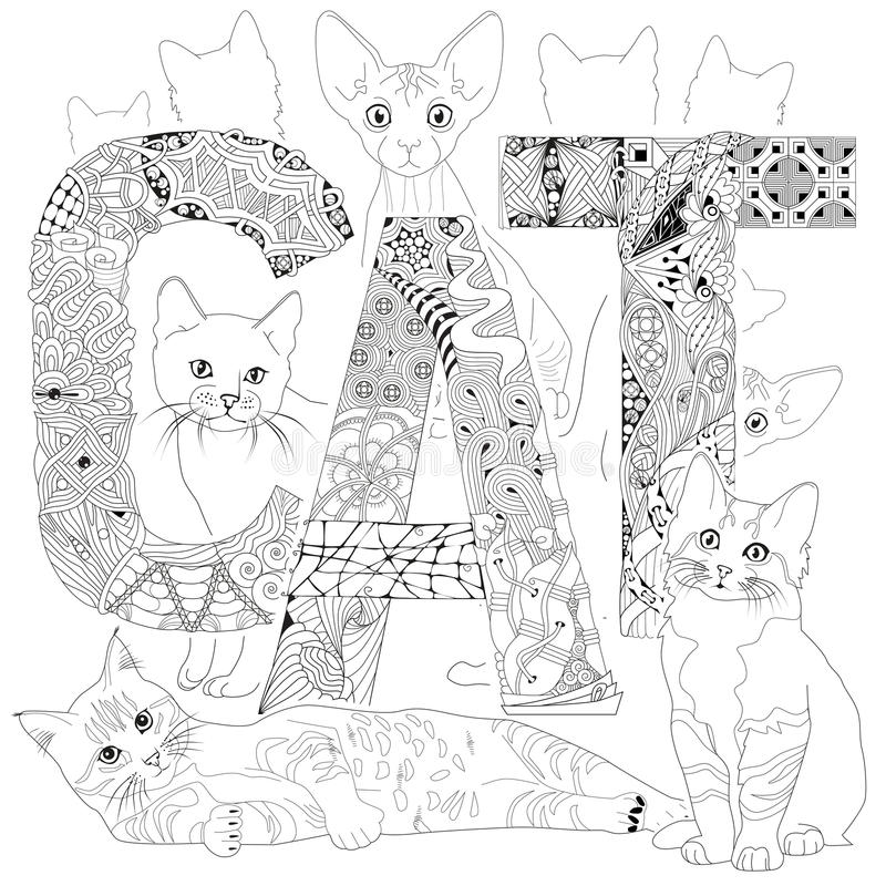 Words STRESS FREE. Vector Decorative Zentangle Object