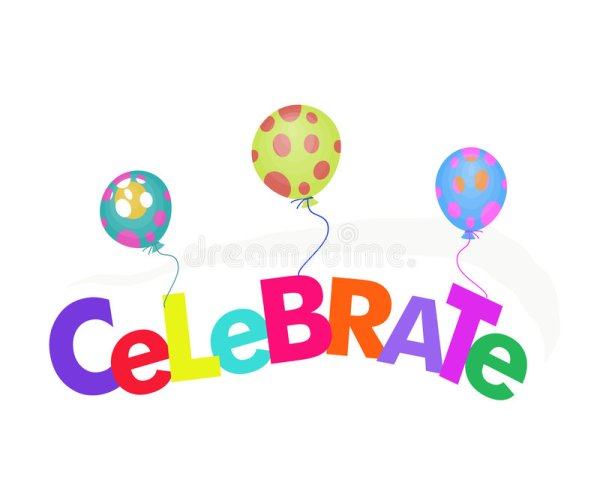 word celebrate with balloons illustration