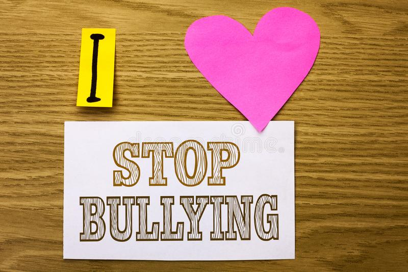 Word Writing Text Stop Bullying. Business Concept For Do Not Continue Abuse Harassment Aggression Assault Scaring Written On Stick Stock Photo ...