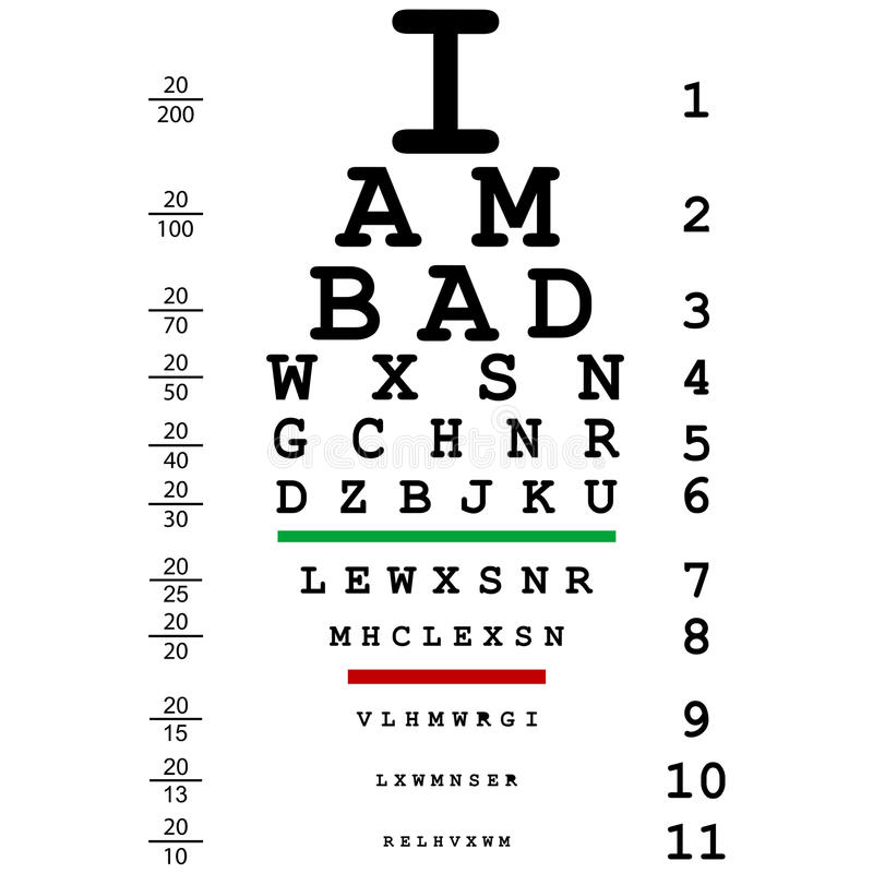 Words I Am Bad With Optical Eye Test Use By Doctor Stock