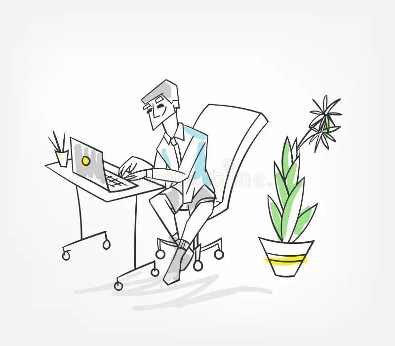 Cartoon Man Working At Computer Stock Vector