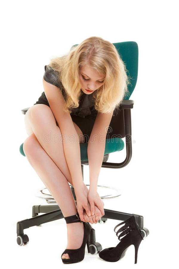 Work Stoppage And Foot Pain Business Woman On Chair