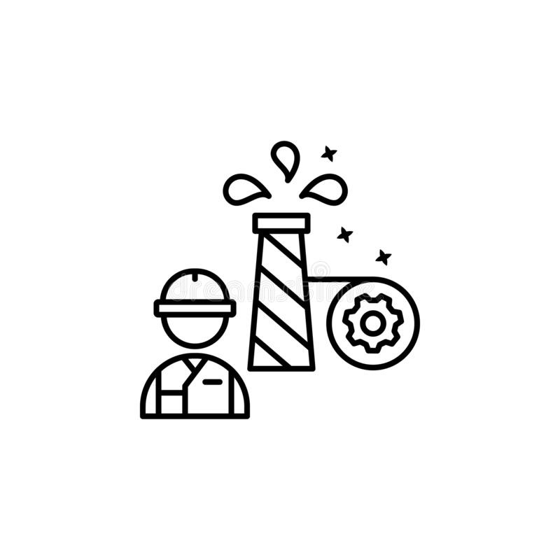 Industry worker line icon. stock vector. Illustration of