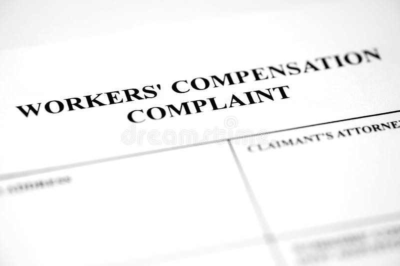 Worker`s Compensation Claim Form Application Stock Photo