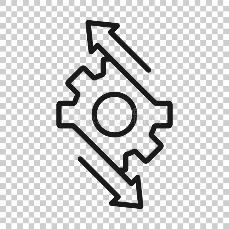 Workflow Process Icon In Flat Style. Gear Cog Wheel With