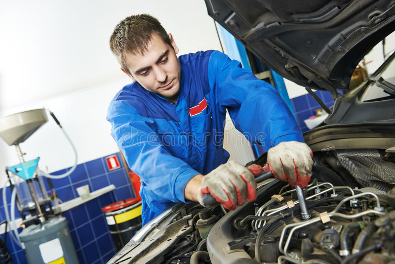 Working Repairman Auto Mechanic Stock Image Image Of