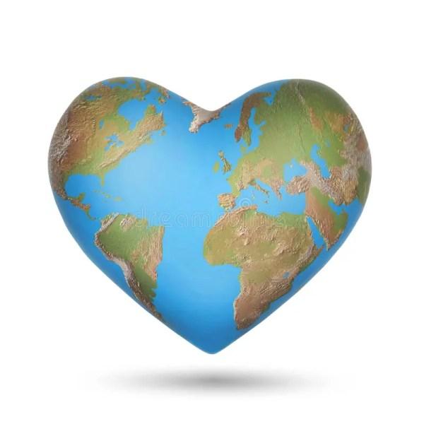 World Globe in Shape of a Heart