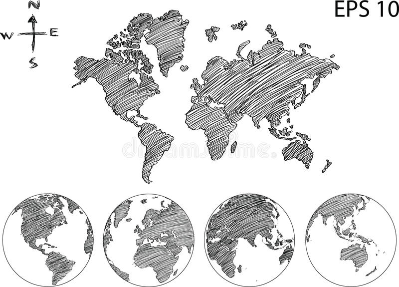 World Map Globe Vector Line Sketch Up Illustrator. Stock