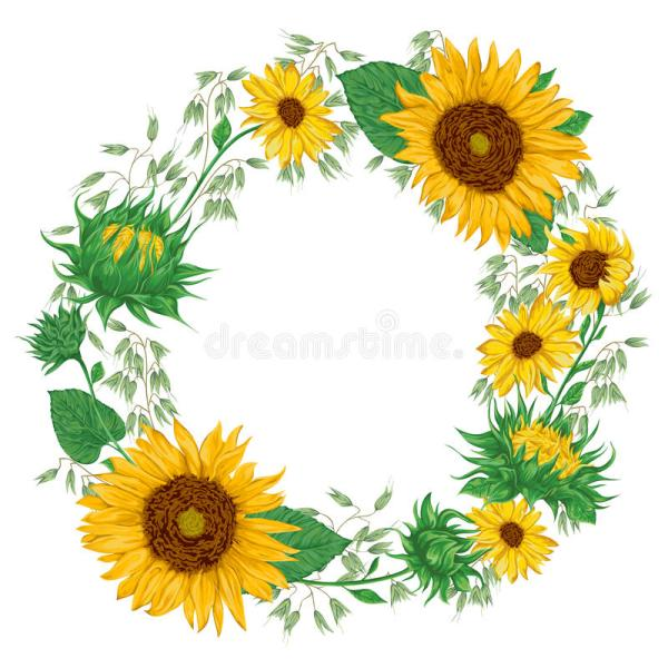 wreath with sunflowers and oat