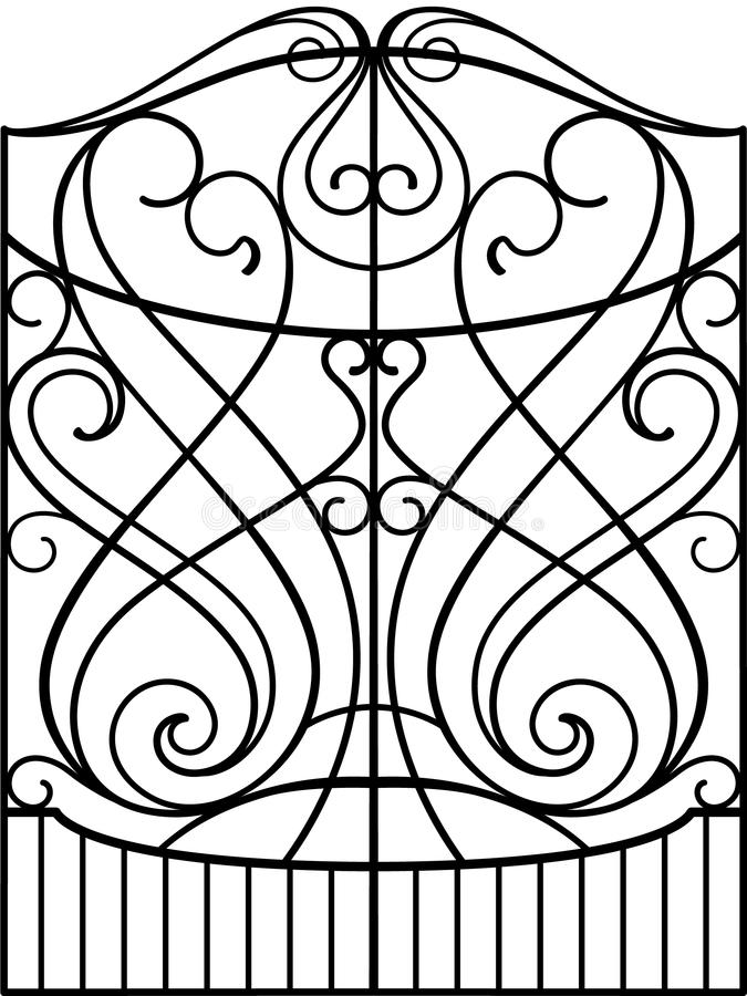 Wrought Iron Fence Or Gate Vector Eps Stock Vector