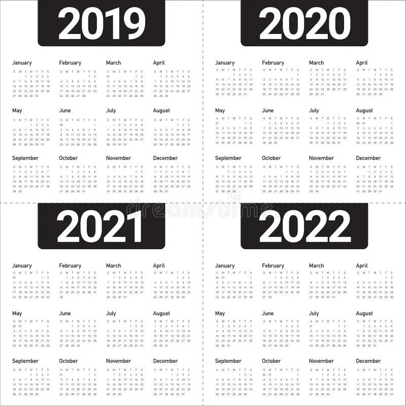 Portuguese Calendar 2018-2019-2020 Vector Stock Vector