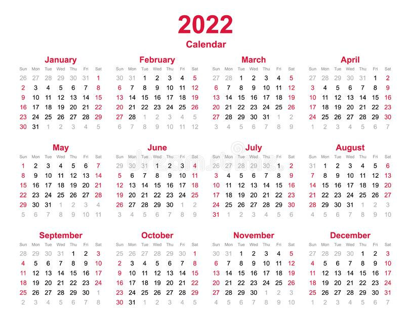 2022 Yearly Calendar - 12 Months Yearly Calendar Set In ...