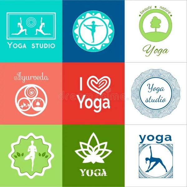 Yoga Illustration. Set Of Logos. Eps Stock