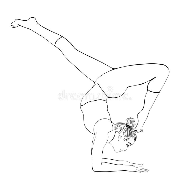 Yoga Pose, Woman Handstand, Vector Coloring Drawing