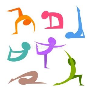 yoga silhouette simple figure figures positions vector illustration kamasutra colorful stick