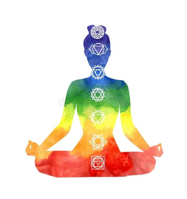 Yoga Woman With Chakra Symbols. Stock Vector