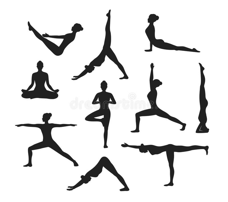 Yoga Workout. Silhouettes Of A Woman In Yoga Asanas Stock