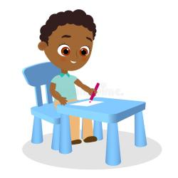 desk cartoon boy african american sitting young vector illustration paints eps flat male preview object