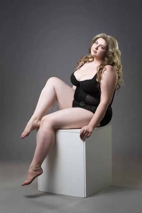Young Beautiful Blonde Plus Size Model In Shapewear Xxl