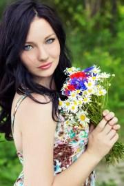 young beautiful elegant girl blue