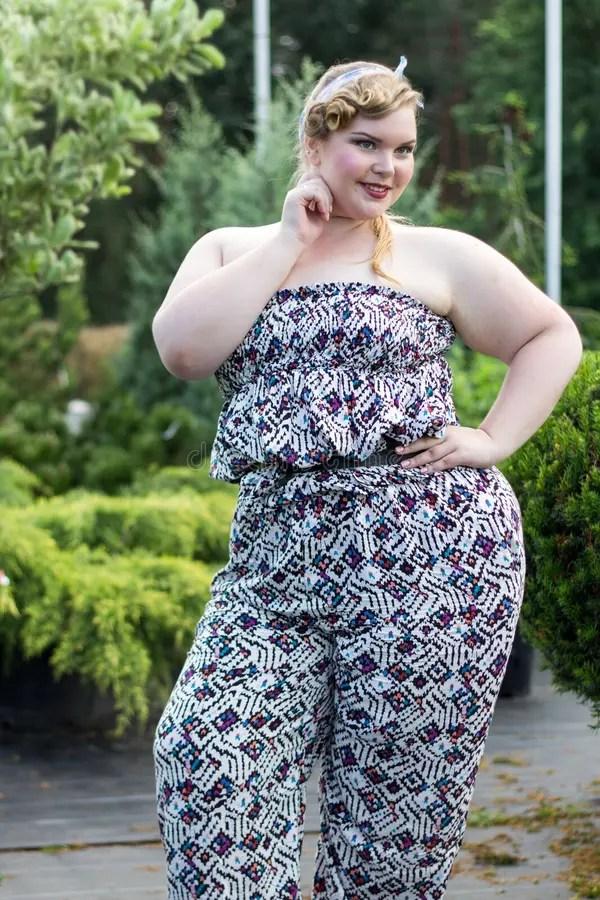 Xxl Woman Portrait Young Beautiful Plus Size Model Stock