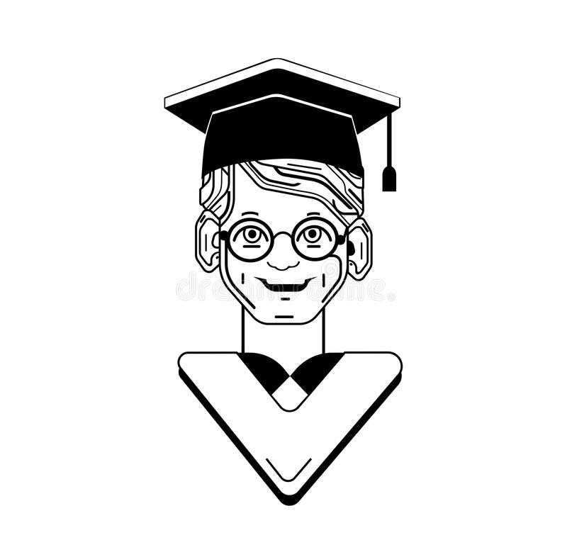 Student Graduated With Hat Avatar Character Stock Vector