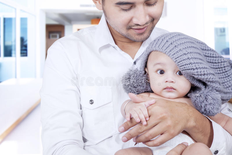 Young Father Take Care His Baby Stock Image - Image of ...